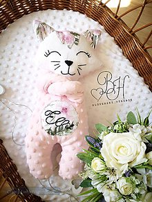 Hračky - Hračka mačička ružová s ruzami - 12264860_