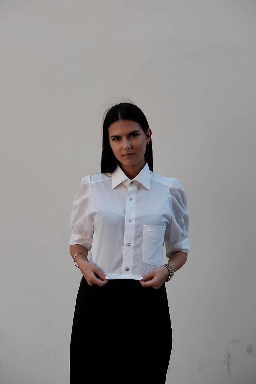 Topy - romantická blúzka z pánskej košele /biela - 12266691_