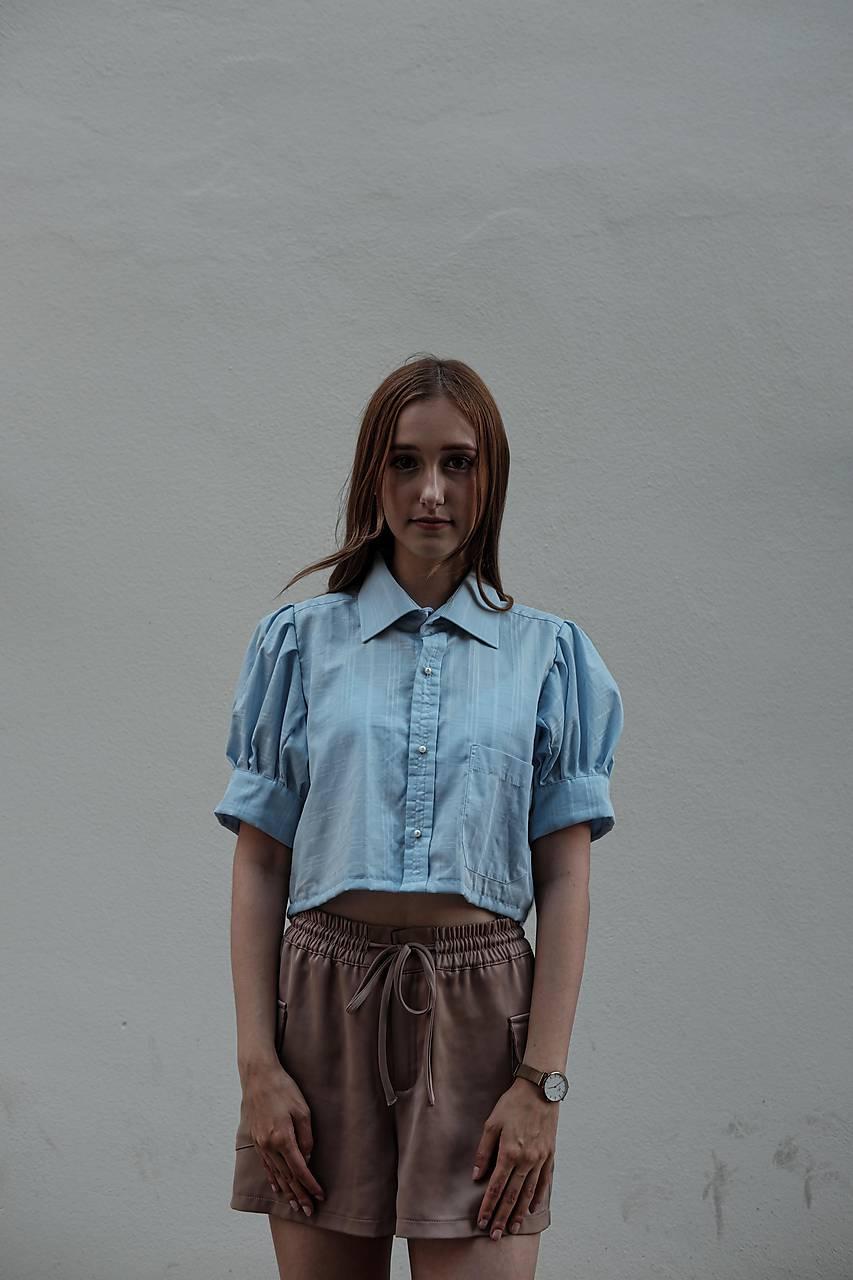 Topy - romantická blúzka z pánskej košele /modrá - 12266736_