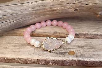 Náramky - Náramok z minerálu ruženín a krištáľ - 12265612_
