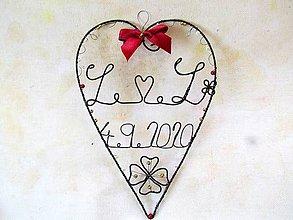 Dekorácie - Srdiečko s iniciálmi a dátumom (Bordová) - 12266282_