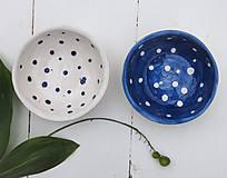 Nádoby - Keramické misky s bodkami bielo-modré - 12269604_