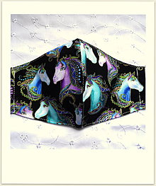 Rúška - Bavlnené rúška... dámske (Farebné kone na čiernej+ zlatý efekt) - 12270602_