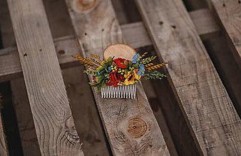 Ozdoby do vlasov - Folklórny kvetinový hrebienok do vlasov - 12270776_