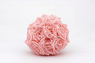 Kytice pre nevestu - Saténová kytica svadobná ružová ruže - 12269248_
