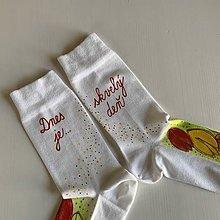 """Obuv - Motivačné maľované ponožky s nápisom """"Dnes je skvelý deň"""" (Kvetinkové) - 12267692_"""