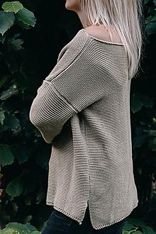 Svetre/Pulóvre - Khaki sveter LEA - 100 % bavlna - 12270788_