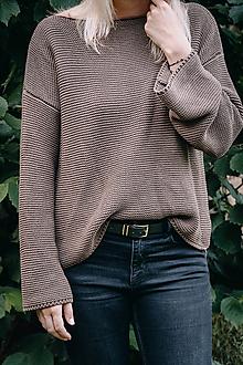 Svetre/Pulóvre - Hnedý sveter LEA - 100 % bavlna - 12270805_