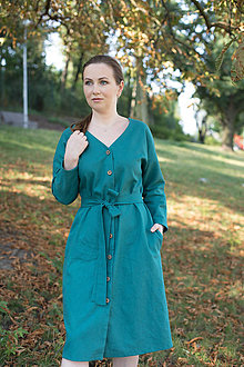 Šaty - ľanové šaty, tyrkys - 12267749_