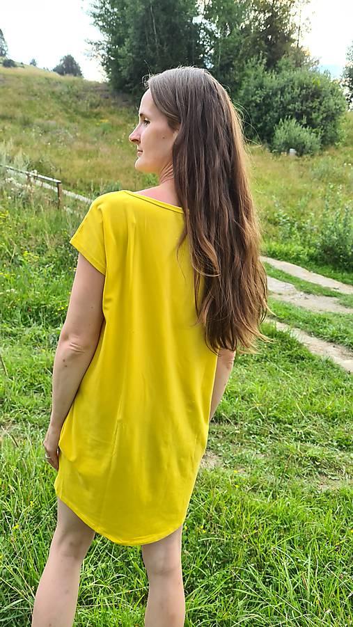 Šaty rovný strih M15-el- veľkosť L, žltá