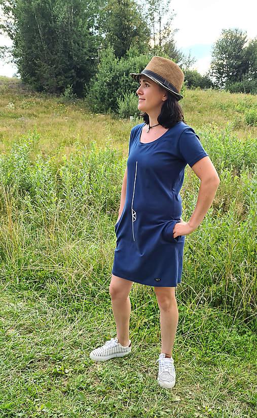 Šaty klasický strih M14 - modré