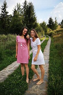 Šaty - Šaty klasický strih M14 - ružové a biele - 12268943_