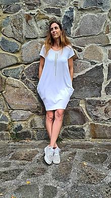 Šaty - Šaty balónový strih M08 - biele, čierna bodkočiarka - 12269090_