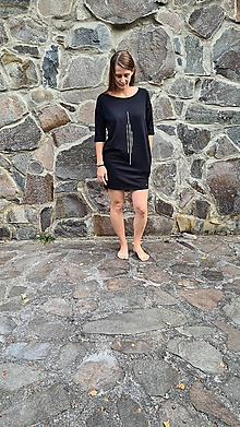 Šaty - Šaty rovný strih M15 - el - IIII čierne, veľ. L - 12269154_
