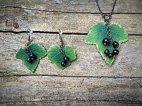 Sady šperkov - Ríbezľový list s čiernymi ríbezľami - sada - 12271560_