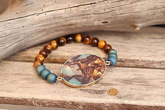 Náramky - Náramok z minerálu jaspis, achát, tigrie oko - 12271849_
