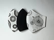 Rúška - Rúška dvojvrstvové,čierne,biele ,skladom - 12274307_