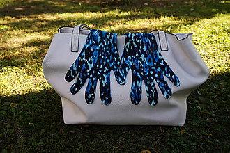 Rukavice - Úpletové rukavičky - modré škvrnité - 12276363_
