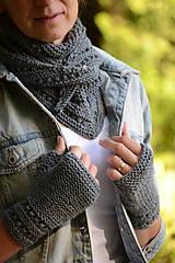 Rukavice - Dámska šatka a rukavice LISA (aj jednotlivo), šedé, 100% merino - 12274588_