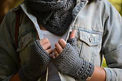 Rukavice - Dámska šatka a rukavice LISA (aj jednotlivo), šedé, 100% merino - 12274589_