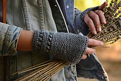 Rukavice - Dámska šatka a rukavice LISA (aj jednotlivo), šedé, 100% merino - 12274590_