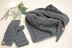 Rukavice - Dámska šatka a rukavice LISA (aj jednotlivo), šedé, 100% merino - 12274591_