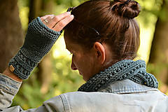 Šatky - Dámska šatka a rukavice LISA (aj jednotlivo), sivozelené, 100% merino - 12274609_