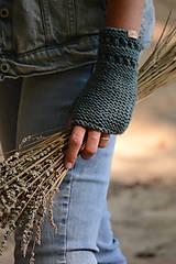 Šatky - Dámska šatka a rukavice LISA (aj jednotlivo), sivozelené, 100% merino - 12274610_