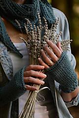 Šatky - Dámska šatka a rukavice LISA (aj jednotlivo), sivozelené, 100% merino - 12274611_