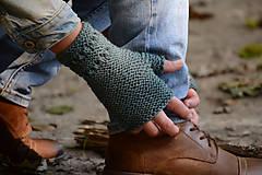 Šatky - Dámska šatka a rukavice LISA (aj jednotlivo), sivozelené, 100% merino - 12274612_