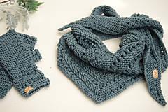 Šatky - Dámska šatka a rukavice LISA (aj jednotlivo), sivozelené, 100% merino - 12274616_