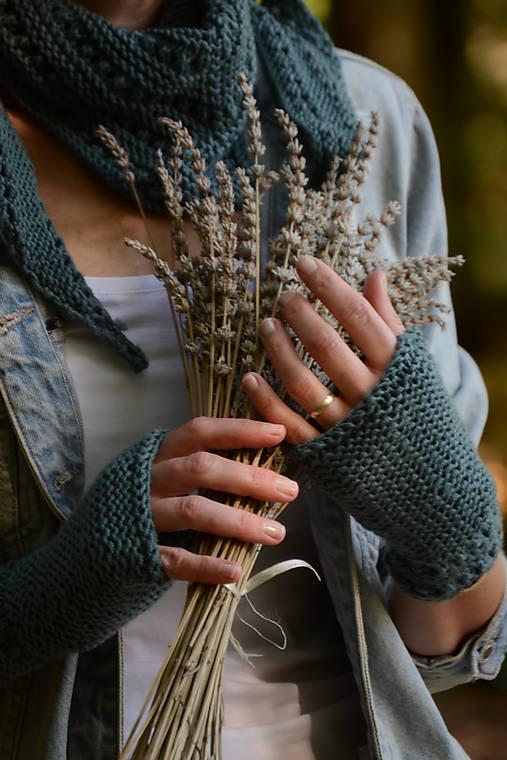 Dámska šatka a rukavice LISA (aj jednotlivo), sivozelené, 100% merino