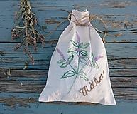 """Úžitkový textil - ľanové vrecko na bylinky """"Mäta"""" - 12276412_"""