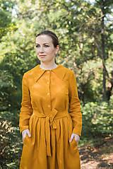 Šaty -  Lněné šaty s límcem, hořčicové - 12274548_