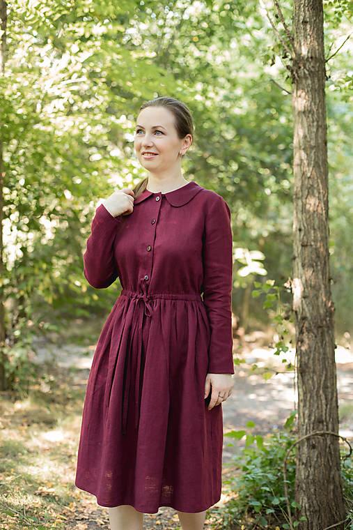 Šaty - Lněné šaty, vínové - 12274413_