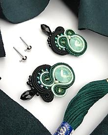 Náušnice - Opálové šujtášové náušnice v zelenom - 12276405_