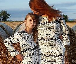 Šaty - Mikinošaty Čiernobiely vidiek - 12277760_