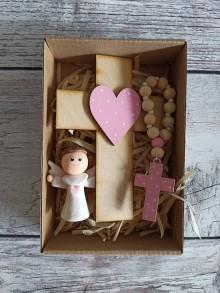 Dekorácie - Set krížik a ruženec a anjelik - 12278446_