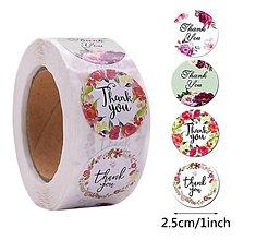 Papier - Nálepka thank you mix 2,5 cm  - 12280974_