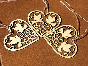 Drobnosti - Ozdobné drevené srdiečko - 12278160_
