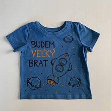 """Detské oblečenie - Maľované tričko s nápisom """"Bude zo mňa veľký brat"""" ( (MODRÉ s motívom vesmíru) - 12277549_"""