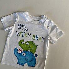 """Detské oblečenie - Maľované tričko s nápisom """"Bude zo mňa veľký brat"""" ( (BIELE so sloníkmi) - 12277551_"""