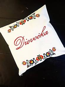 Úžitkový textil - ZĽAVA•ručne maľovaný ľudový vankúš - Dievočka• - 12277098_