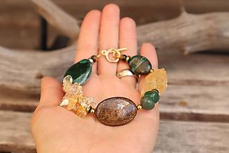 Náramky - Bohemian náramok z minerálov citrín, achát, bronzit, serafinit - 12280175_