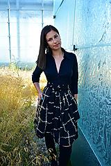 Sukne - Zavinovací sukně ANJA, černo-bílá kostka - 12281825_