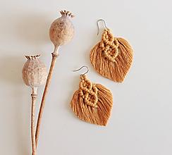 """Náušnice - makramé náušnice """"jeseň"""" cho (horčicové bez korálky) - 12281591_"""