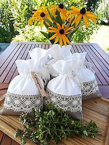 Úžitkový textil - Ľanové vrecúško na bylinky, huby, sušené ovocie...... - 12282469_