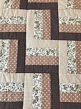 Úžitkový textil - Patchworkový prehoz v hnedých tónoch - 12282759_