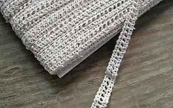 Galantéria - Čipka zo 100% bavlny, 0,9cm x 18,3 m- béžová 86169 - 12283121_