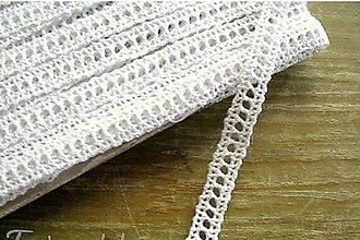 Galantéria - Čipka zo 100% bavlny, 0,9cm x 18,3 m- biela - 12283130_